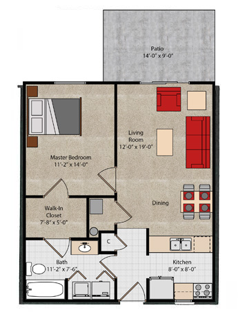 Cape Cod Floorplan Lake Forest Apartments