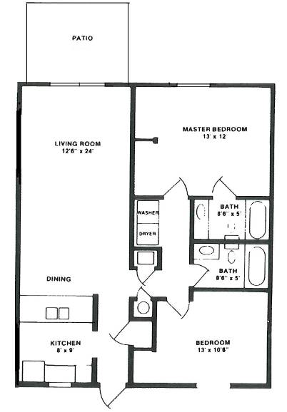Villager 1 Floorplan Lake Forest Apartments